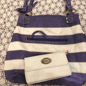 Handbags - Large Purple & White Purse & Wallet Set